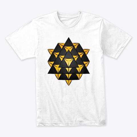3 D 64 Tetrahedron Grid Series   Gold White T-Shirt Front