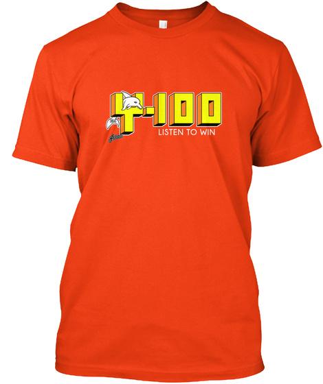 Classic Listen To Win Y 100 Radio Fla Deep Orange  T-Shirt Front