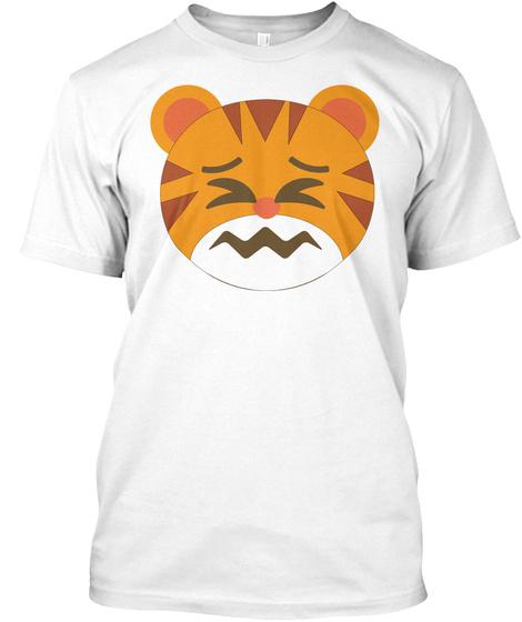 Tiger Emoji Sour Face White T-Shirt Front