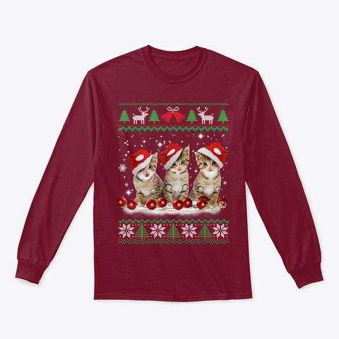 Ugly Christmas Cat Santa Hat Lights Xmas Cardinal Red T-Shirt Front
