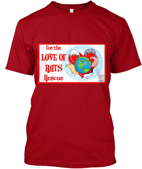 For The Love Of Bats Rescue Deep Red T-Shirt Front