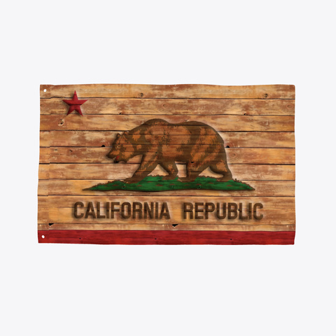 Flag Of California Carved Wood Look Standard T-Shirt Front