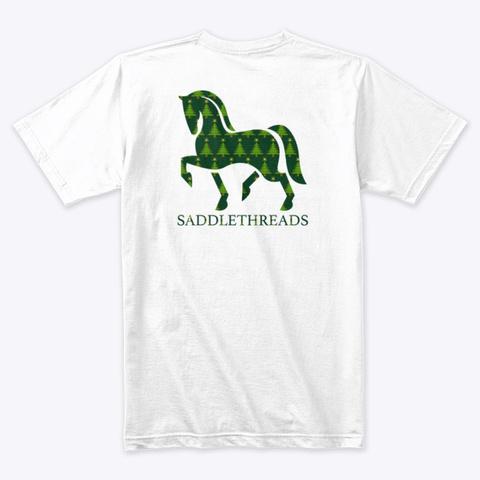 Saddlethreads Logo   Christmas Tree White T-Shirt Back
