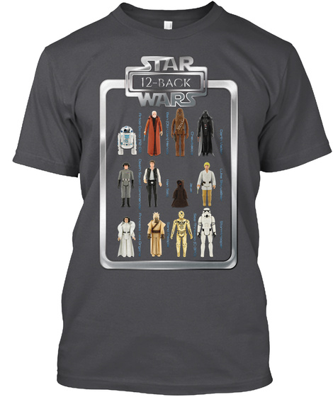 Star 12 Back Wars Charcoal T-Shirt Front