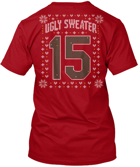 Ugly Sweater 15 Deep Red T-Shirt Back