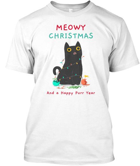 Cute Christmas Pet Black Cat White T-Shirt Front