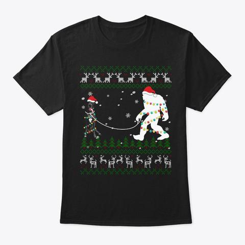 Great Dane Bigfoot Christmas Black T-Shirt Front