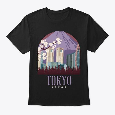 Japan Skyline Tokyo Cool Souvenir Gift Black T-Shirt Front