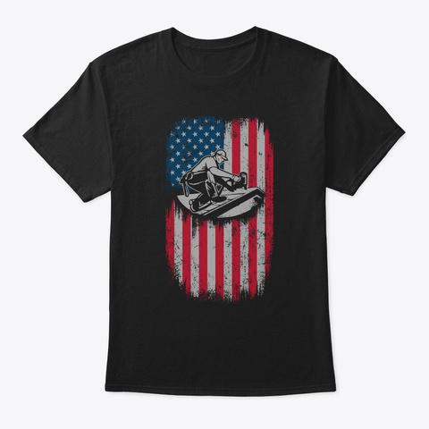 American Roofer Flag Shirt Black T-Shirt Front