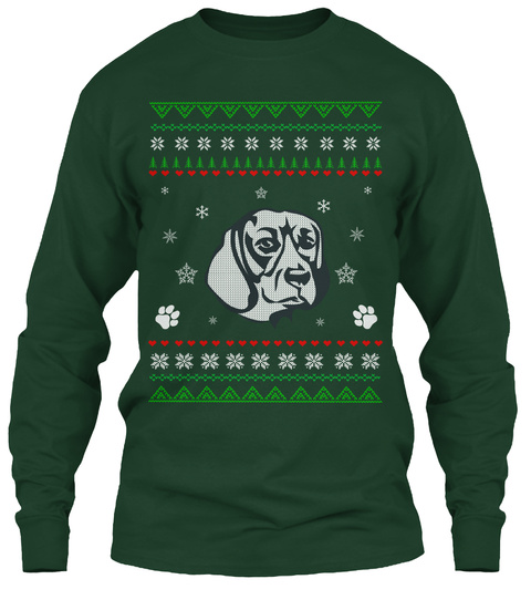 beagle ugly christmas sweater adult forest green long sleeve t shirt front - Adult Ugly Christmas Sweater