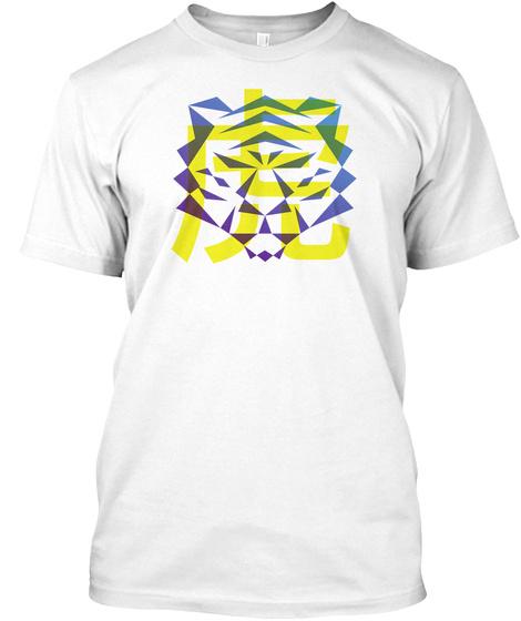 Polygon Tiger  White T-Shirt Front