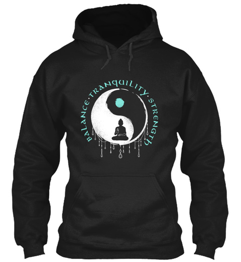 Yin Yang Buddha Meditation Black T-Shirt Front