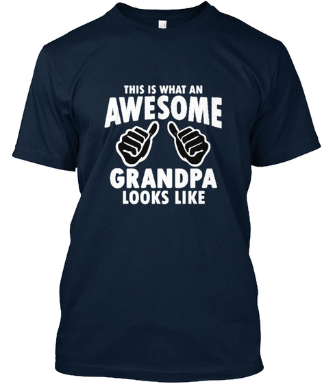 Awesome Grandpa New Navy T-Shirt Front