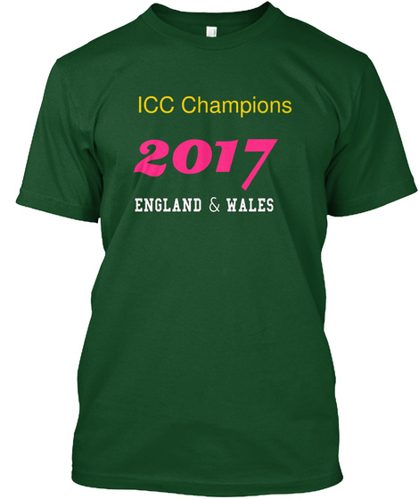 Icc Champions 2017 England & Wales  Deep Forest T-Shirt Front
