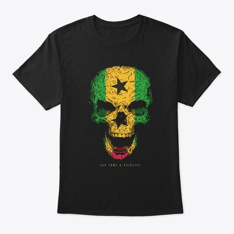 Skull Sao Tome & Principe Flag Skeleton Black T-Shirt Front