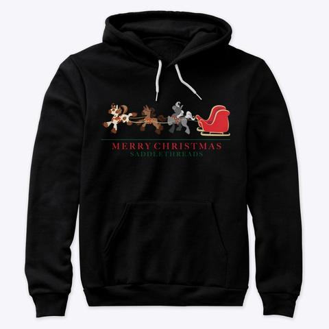 Santa's Sleigh Ponies Black T-Shirt Front