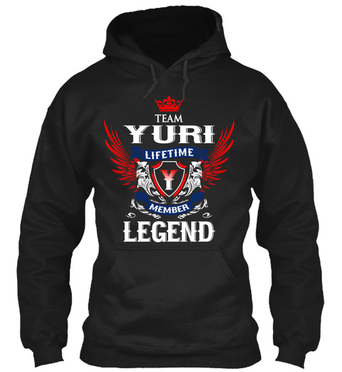 Team Yuri Lifetime Member Legend Black T-Shirt Front