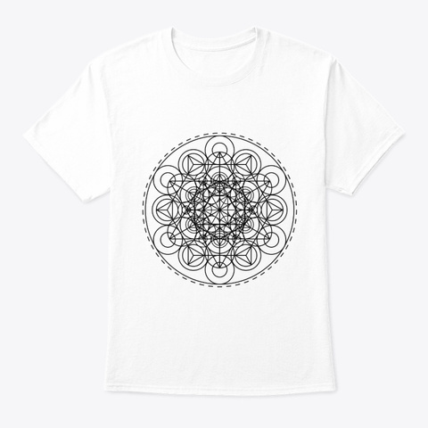 Sacred Geometry Intricate Tri Hex Circles  White T-Shirt Front