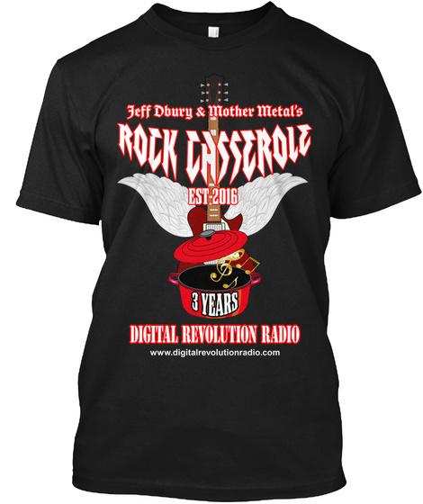 Rock Casserole 3rd Anniversary Shirt  Black T-Shirt Front