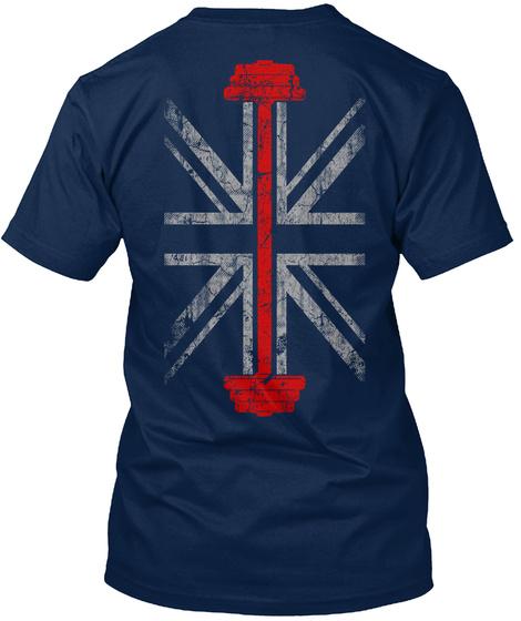 Weight Training   Uk Flag Navy T-Shirt Back