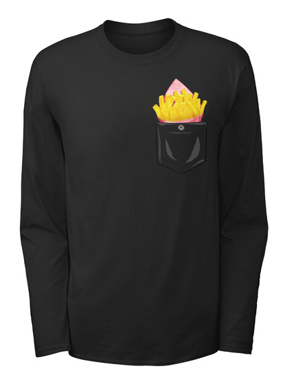 French Fries Patch Pocket Black T-Shirt Front