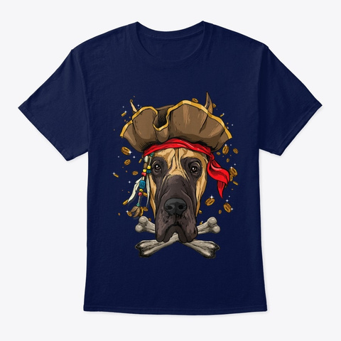 Great Dane Pirate Dog Jolly Roger Navy T-Shirt Front