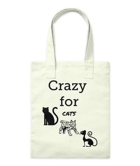 Crazy  For   Cats Natural Tote Bag Front