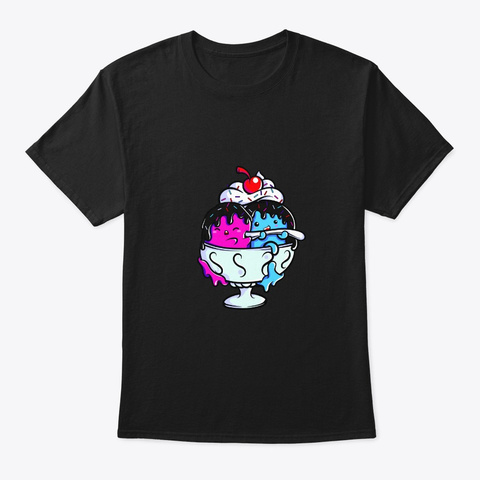 Icecream Ice Cream Scoop Ice Cream Sunda Black T-Shirt Front