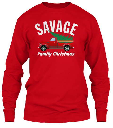Savage Family Christmas Red T-Shirt Front