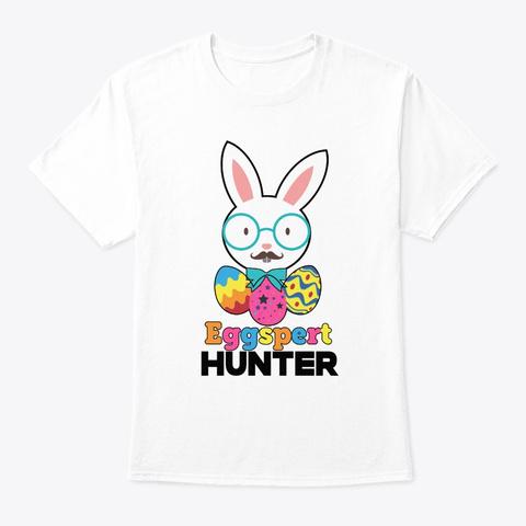 Easter Sunday Eggspert Hunter Funny Bunn White T-Shirt Front