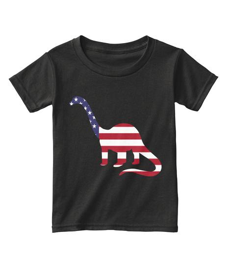 Dinosaur American Flag T Shirt Kids 2 T 4 T Black T-Shirt Front