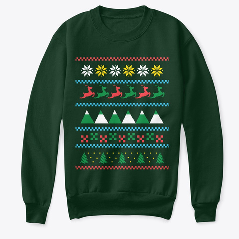 Reindeer Christmas Pattern Ugly Sweater Deep Forest  Camiseta Front