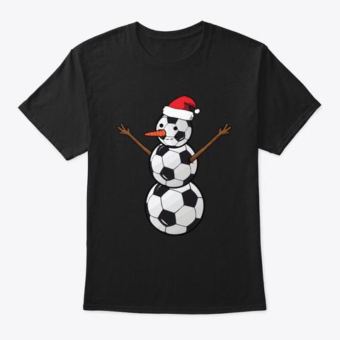 Santa Snowman Soccer Lover Christmas Black T-Shirt Front