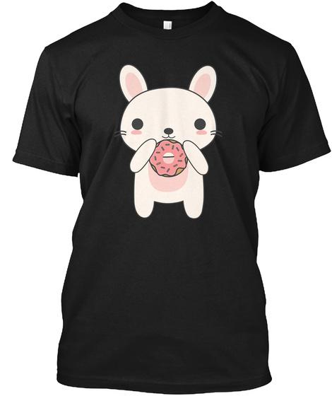 Kawaii Bunny Eating A Donut T Shirt Black T-Shirt Front
