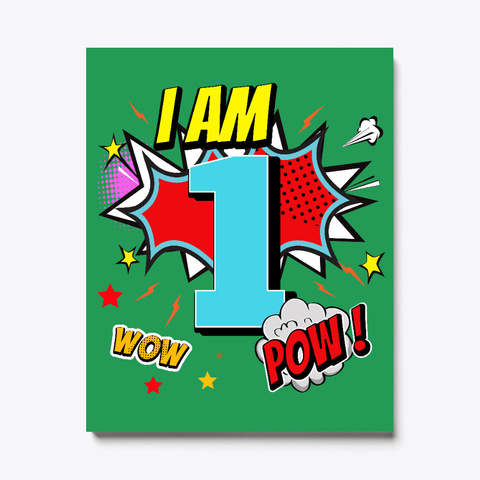 1 Year Old 1st Birthday Boy Comic Kid  Green T-Shirt Front
