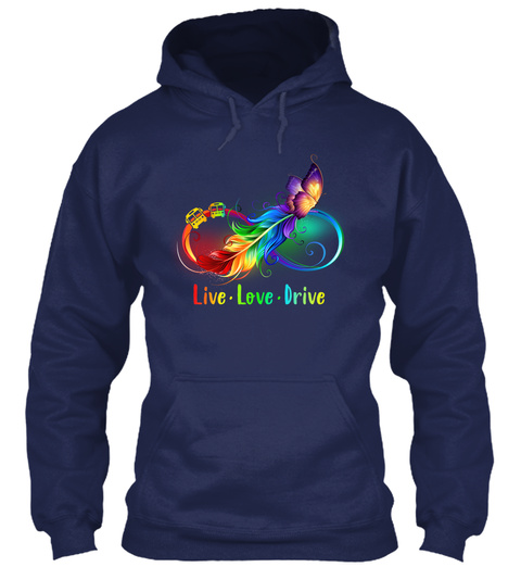 Live Love Drive Navy T-Shirt Front