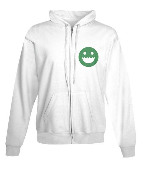 Polycount Zip Hoodie Front White Sweatshirt Front