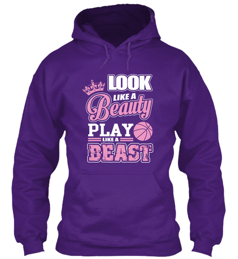 Look Like A Beauty Play Like A Beast  Purple T-Shirt Front