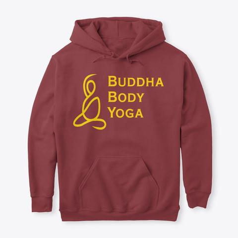Buddha Body Yoga Logo Tees Maroon T-Shirt Front