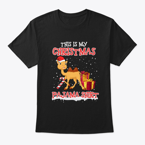 Merry Camel Christmas T Shirt Black T-Shirt Front