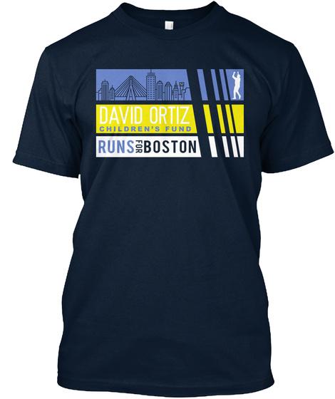 Divid Oritz Children's Fund Runs The Boston Marathon New Navy T-Shirt Front
