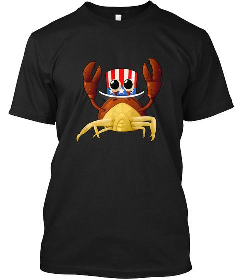 4 Th Of July T Shirt Art Crab Fisherman A Black T-Shirt Front