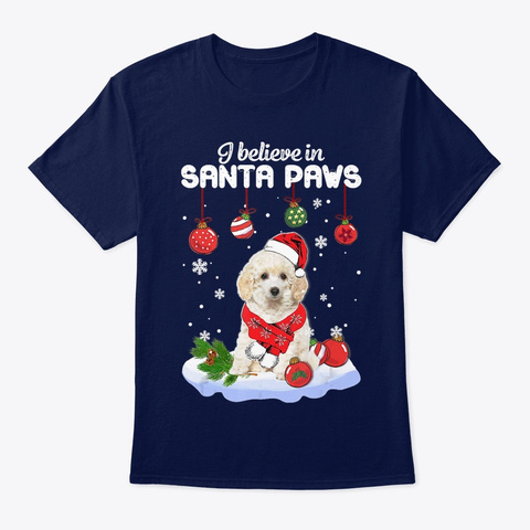 Santa Toy Poodle Claus Dog Christmas Navy T-Shirt Front