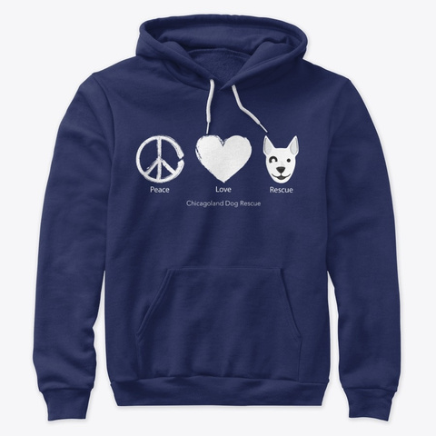 Peace, Love, And Rescue   White Navy T-Shirt Front