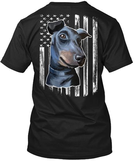 American Flag Manchester Terrier 4 July Black T-Shirt Back