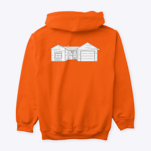Classic Burbs Hoodie   All Colors Safety Orange T-Shirt Back