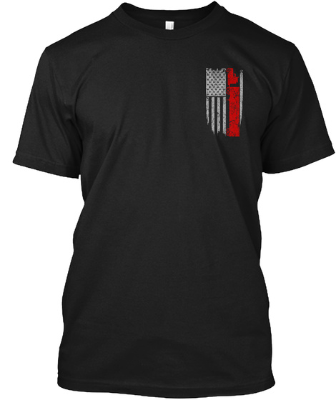 Trucker   Usa Flag Black T-Shirt Front