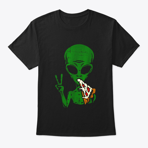 Alien Pizza Eating Peace Funny Space Black T-Shirt Front