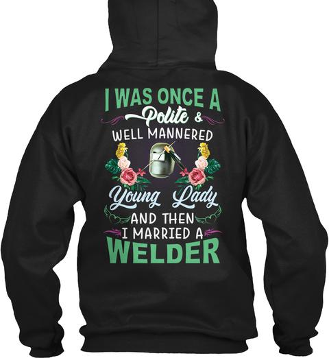 Cute Welder's Wife Black T-Shirt Back