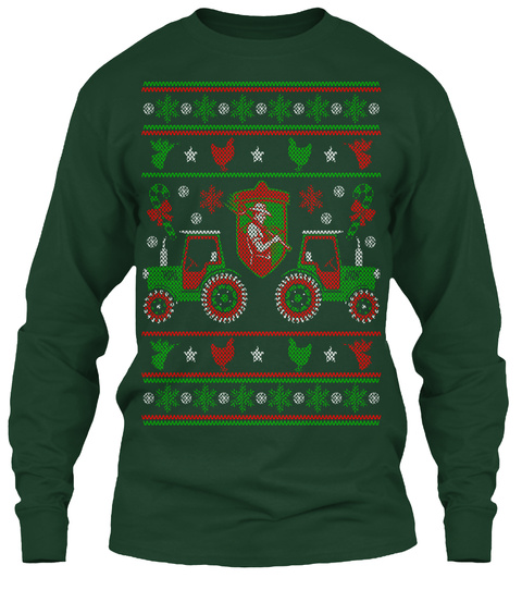 Farmer Tractor   Merry Christmas Forest Green Long Sleeve T-Shirt Front